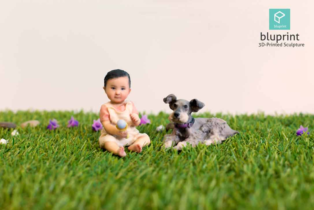 Bluprint 3D Figure Baby Girl with Pet