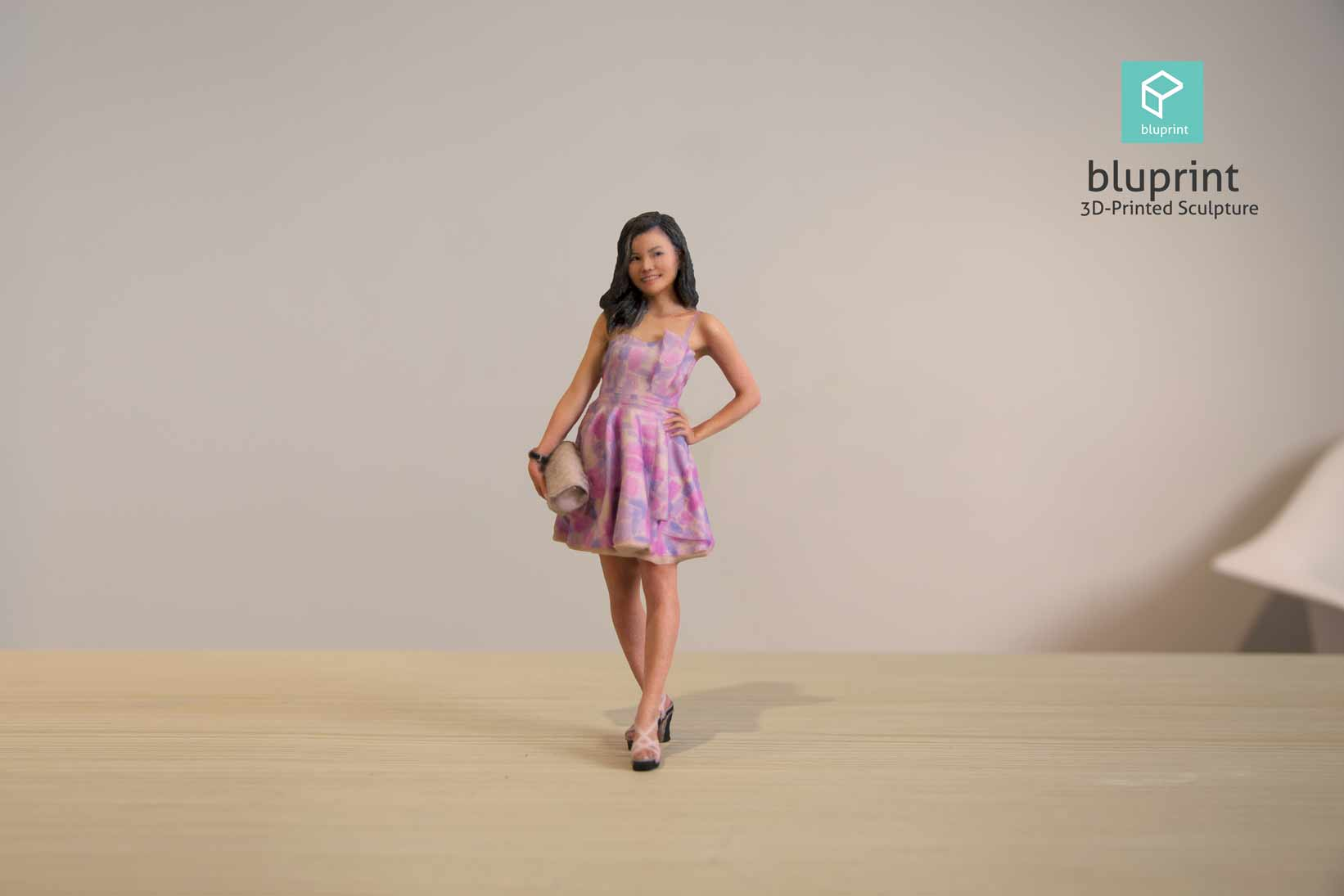 Bluprint 3D Figure Girl with Pink Dress