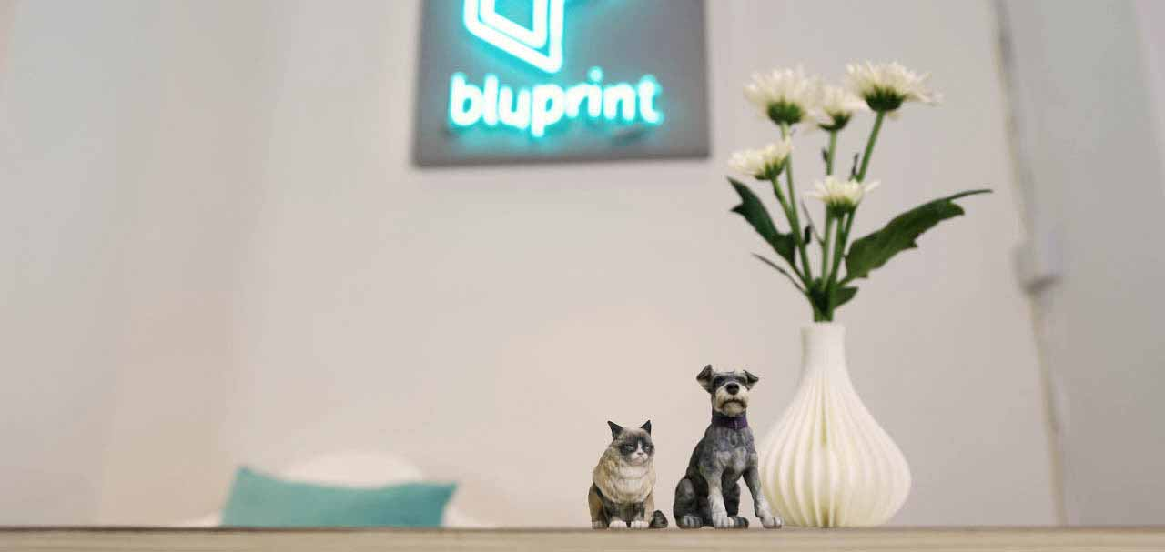 Bluprint 3D Figure Pet Dog and Cat with Vase