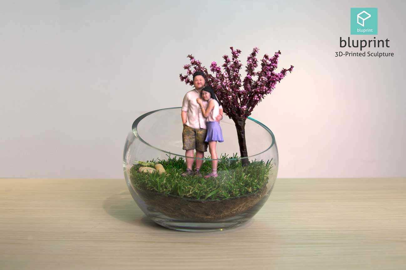 Bluprint 3D Figure Mini Couple With Terrarium Cherry Bloosom