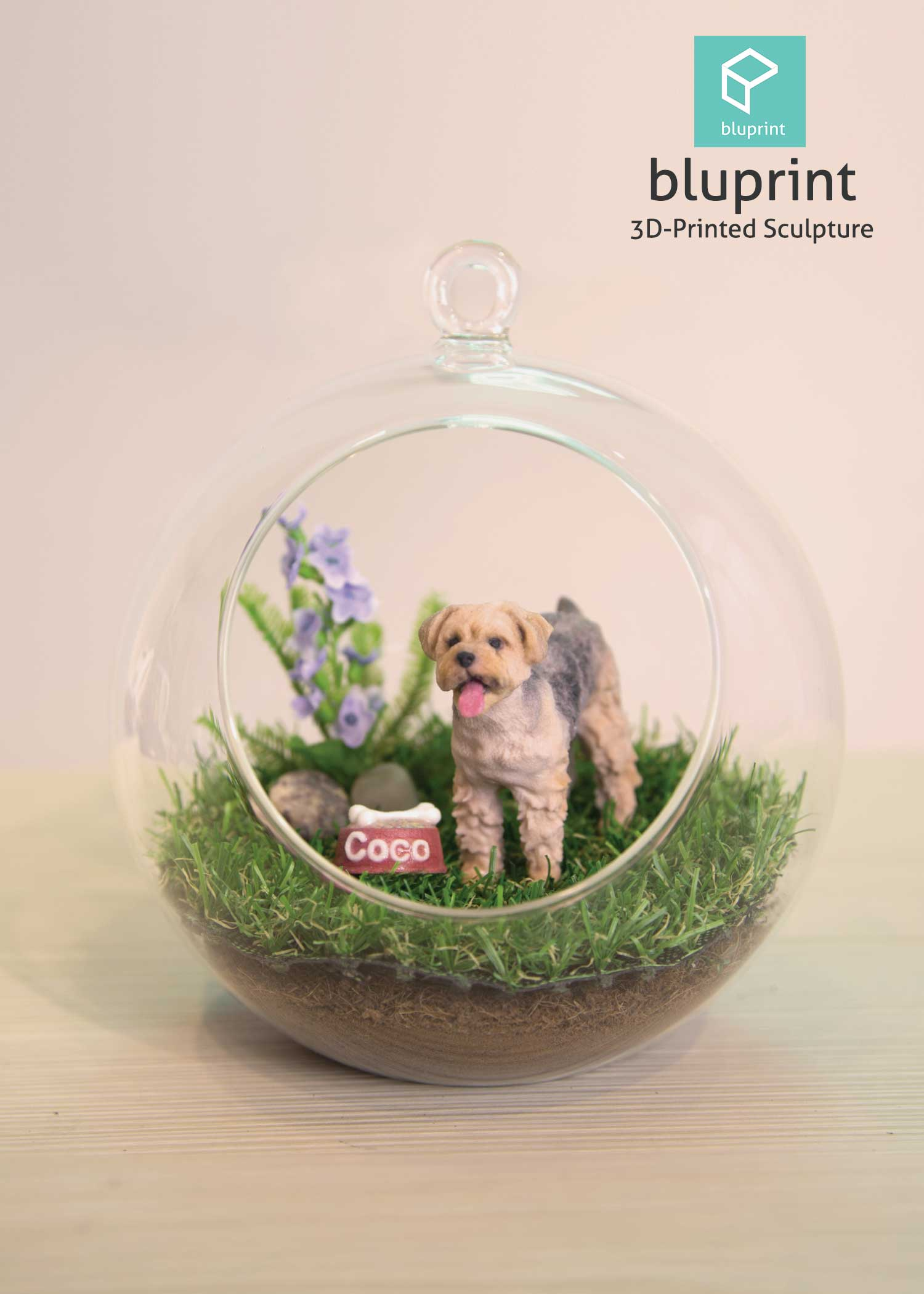 Bluprint 3D Figure Sculpture Hong Kong Pet Yorkie Terrier Terrarium