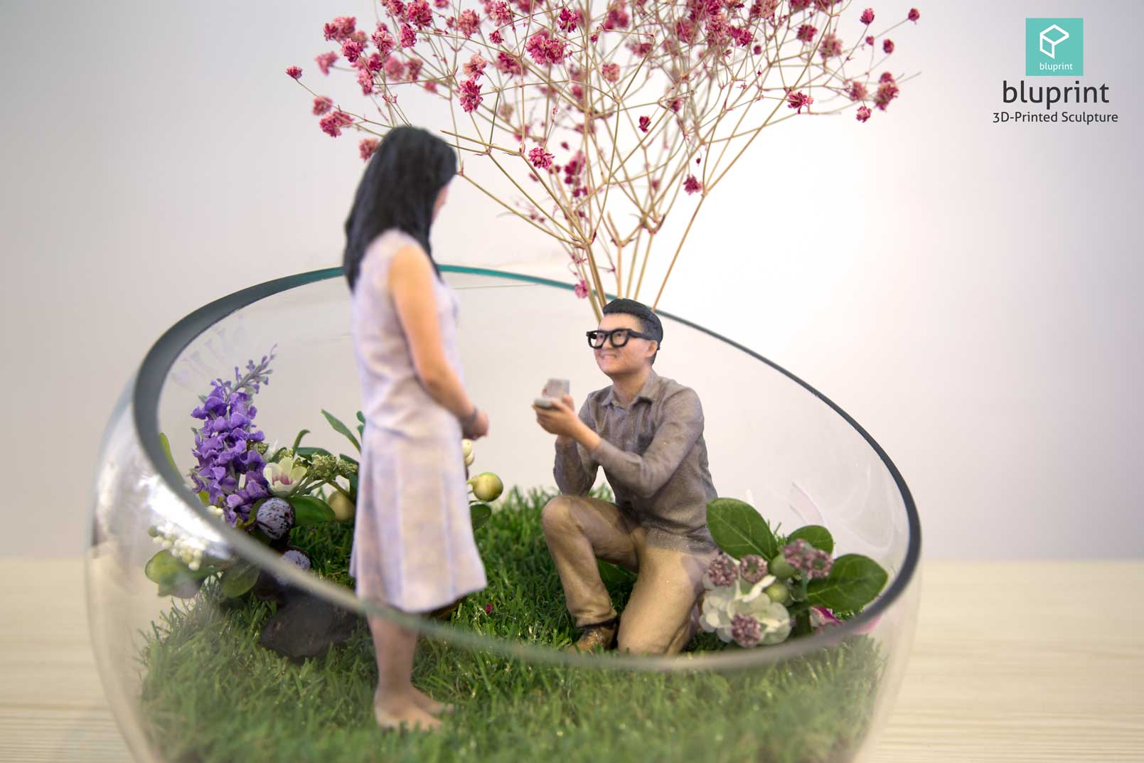 Bluprint 3D Figure Sculpture Hong Kong Couple Proposal Terrarium Boy