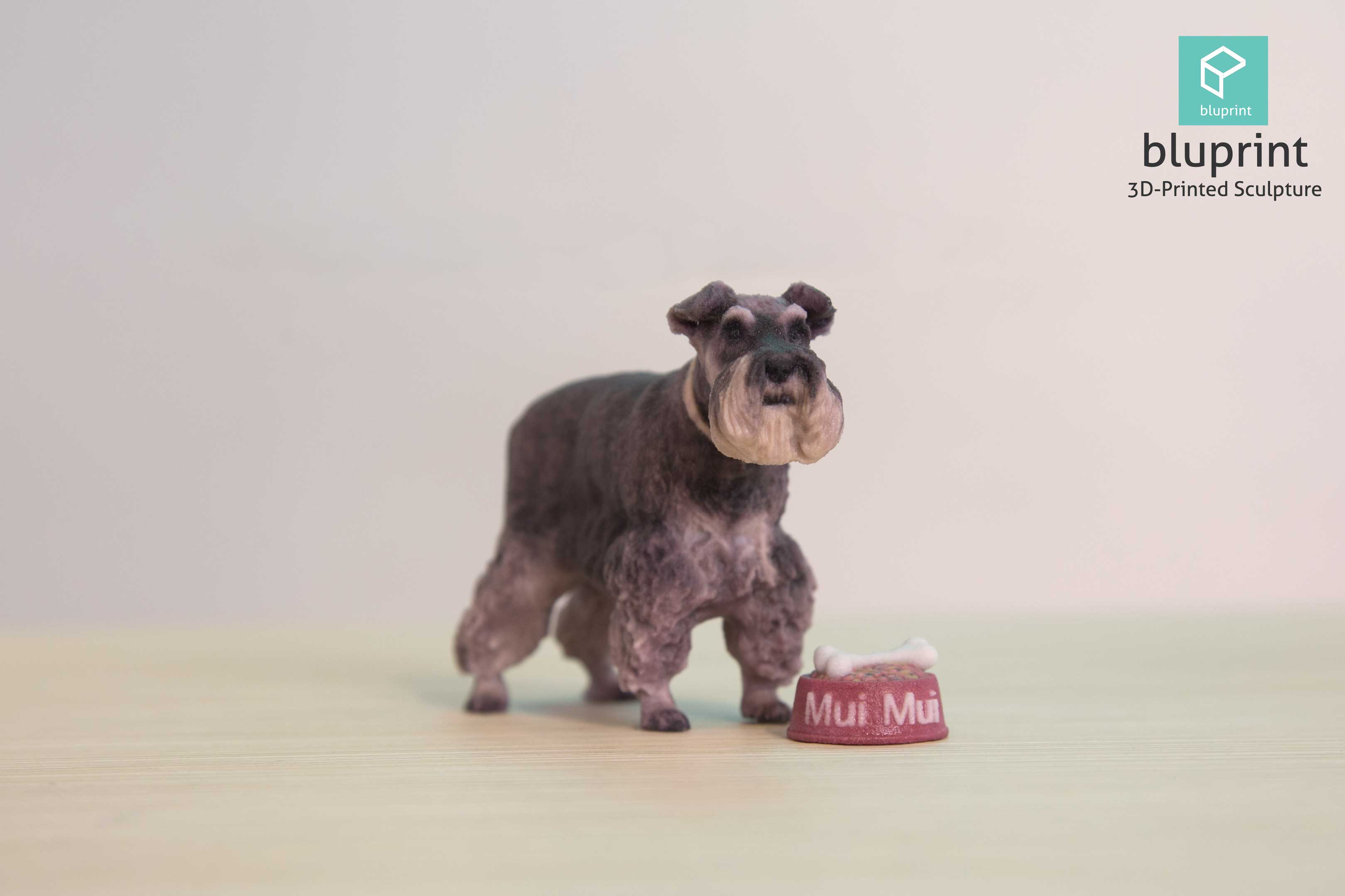 Bluprint 3D Printing Figure Sculpture Hong Kong Dog Pet Schnauzer with Food Tray