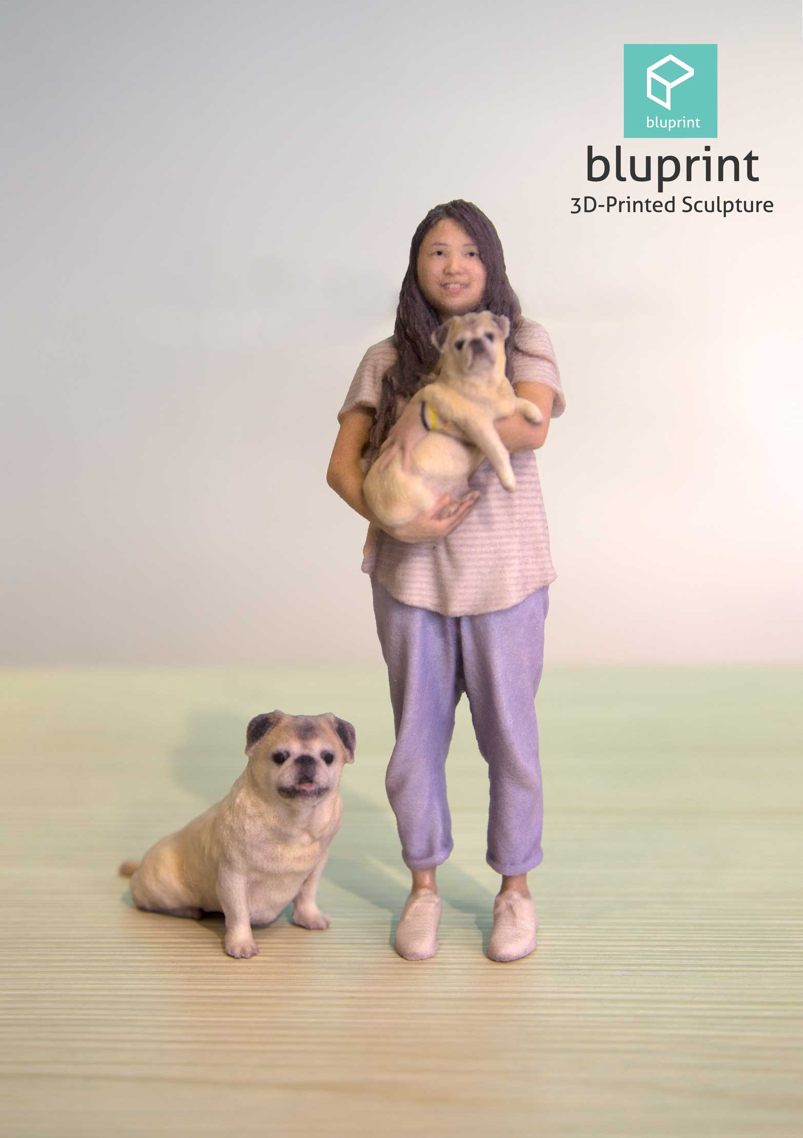 bluprint 3d printing figure sculpture hong kong girl with pug dog