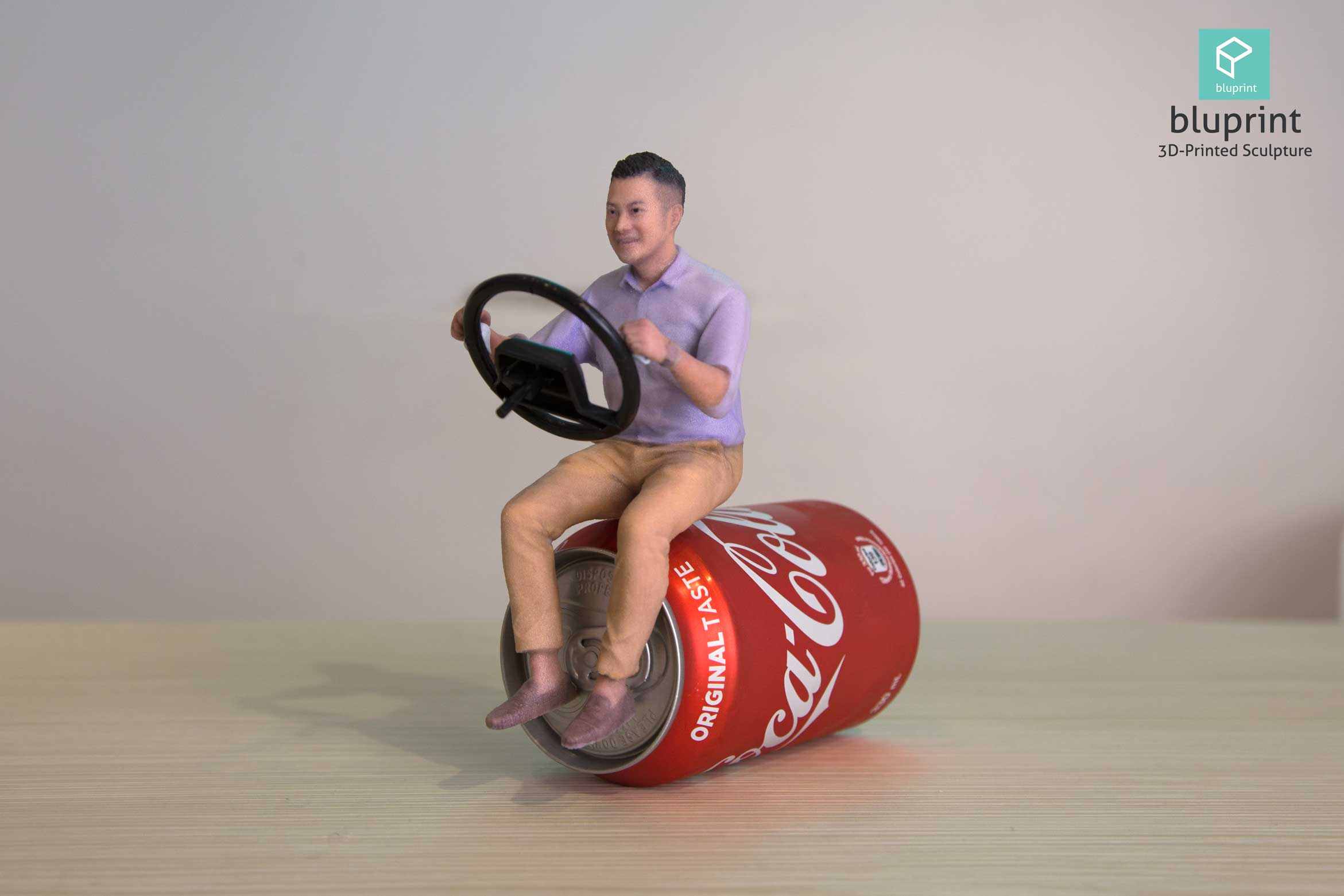 bluprint 3d printing figure sculpture hong kong man drive car coke creative
